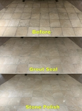 Grout Seal & Stone Polish before and after