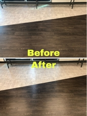 Hard wood flooring cleaning before and after photo